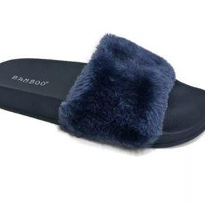 BAMBOO Sapphire Blue Furry Open Toe Slides Sandal